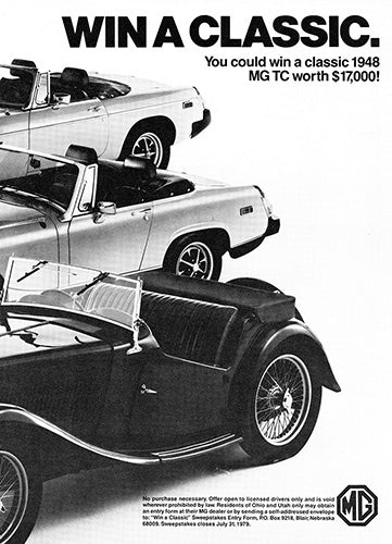 MG Car Poster, 1979 MG MG-TC MGB Midget , Vintage Ad Wall Art