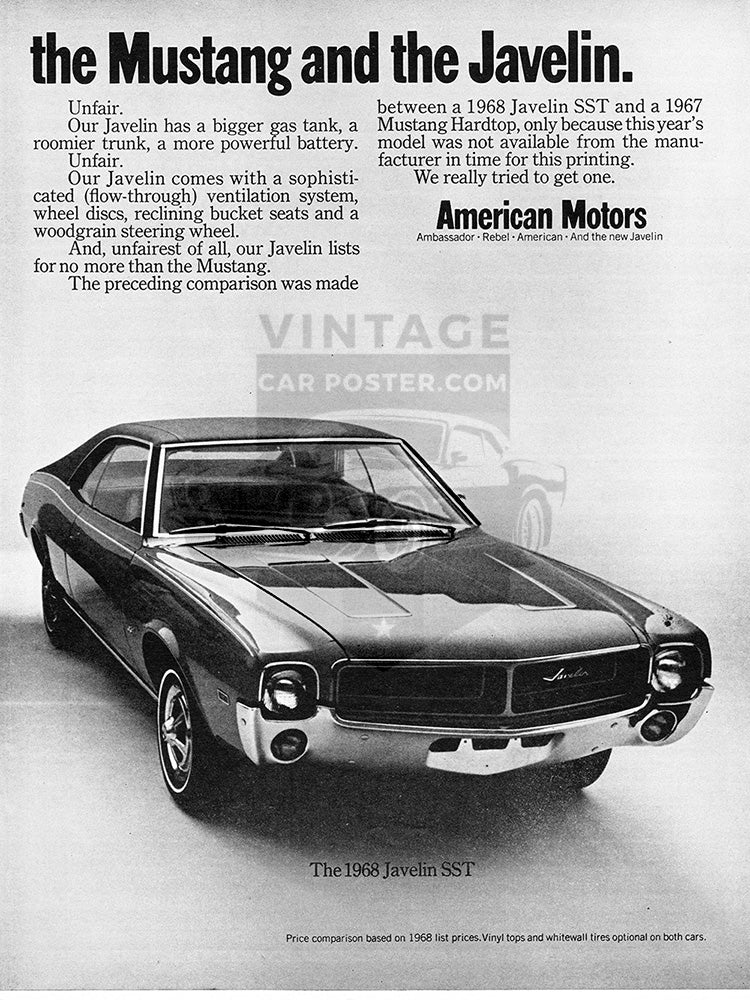 AMC Car Poster, 1968 AMC American Motors Javelin Ford Mustang , Vintage Ad Wall Art
