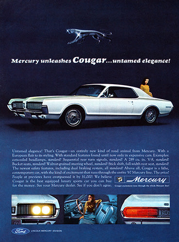 Ford Car Poster, 1966 Ford Mercury Cougar, Vintage Ad Wall Art