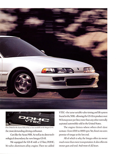 Acura Car Poster, 1992 Acura Integra GS-R , Vintage Ad Wall Art