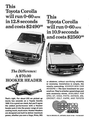 Toyota Car Poster, 1972 Hooker Headers Toyota Corolla, Vintage Ad Wall Art