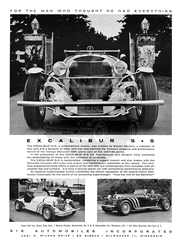 Excalibur Car Poster, 1965 Excalibur SS, Vintage Ad Wall Art
