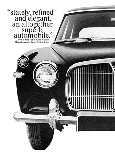 Rover Car Poster, 1960 Rover 3-Liter Sedan , Vintage Ad Wall Art