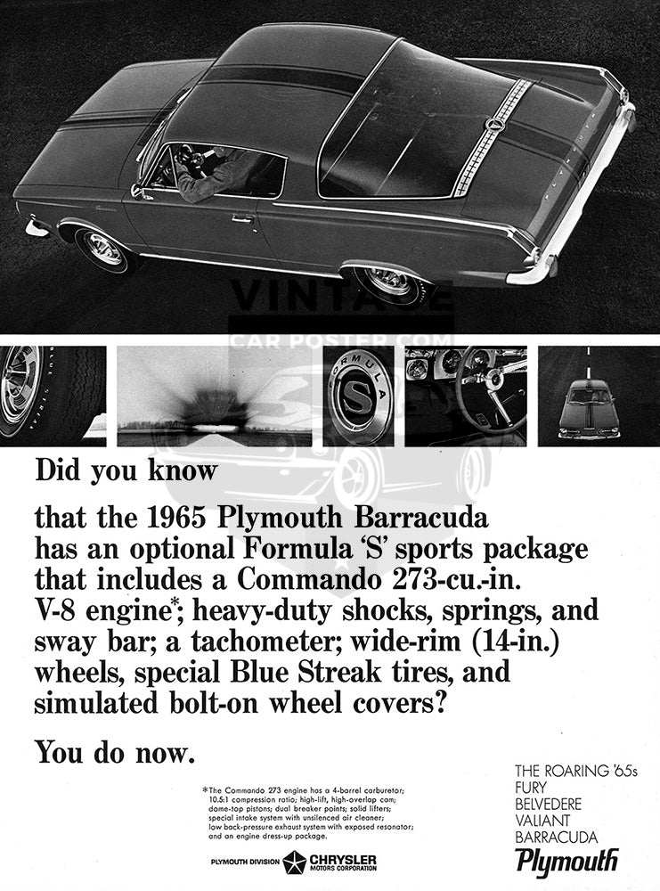 Plymouth Car Poster, 1965 Plymouth Chrysler Barracuda Formula S, Vintage Ad Wall Art