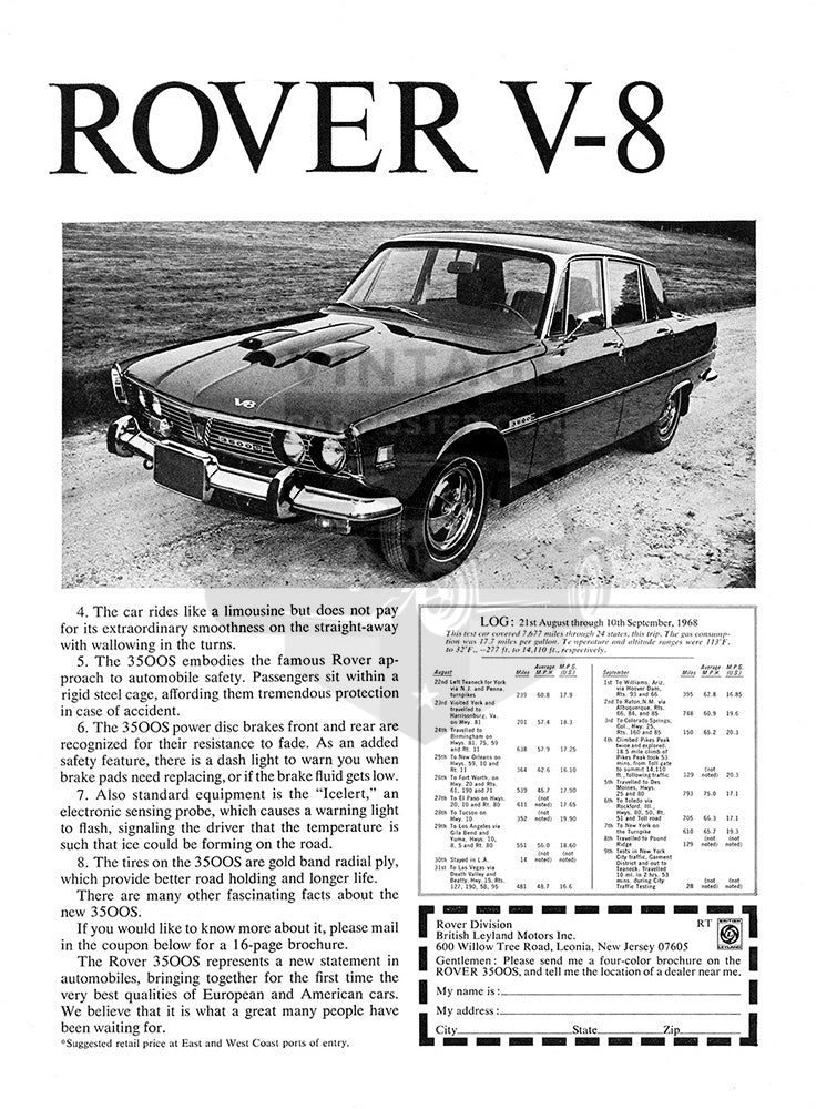 Rover Car Poster, 1969 Rover 3500S V8 , Vintage Ad Wall Art