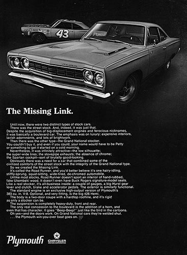 Plymouth Car Poster, 1968 Plymouth Chrysler Road Runner, Vintage Ad Wall Art