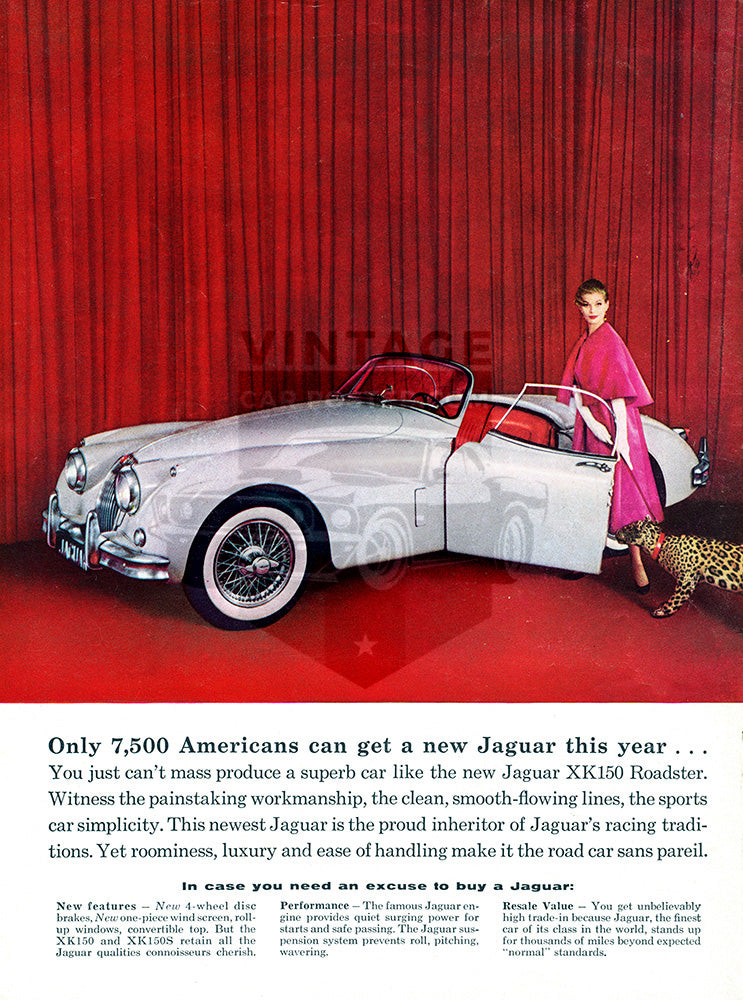 Jaguar Car Poster, 1958 Jaguar XK150 XK150S Convertible Roadster, Vintage Ad Wall Art