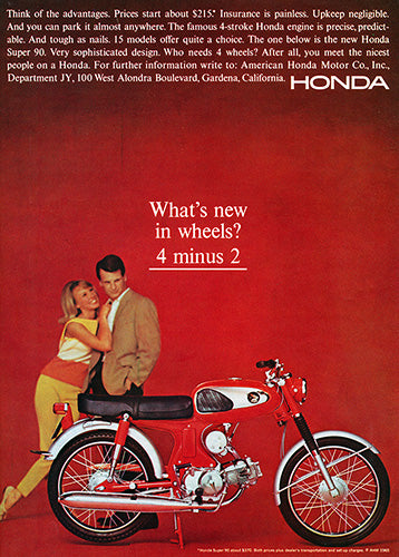Honda Car Poster, 1965 Honda Motorcycle Super 90, Vintage Ad Wall Art