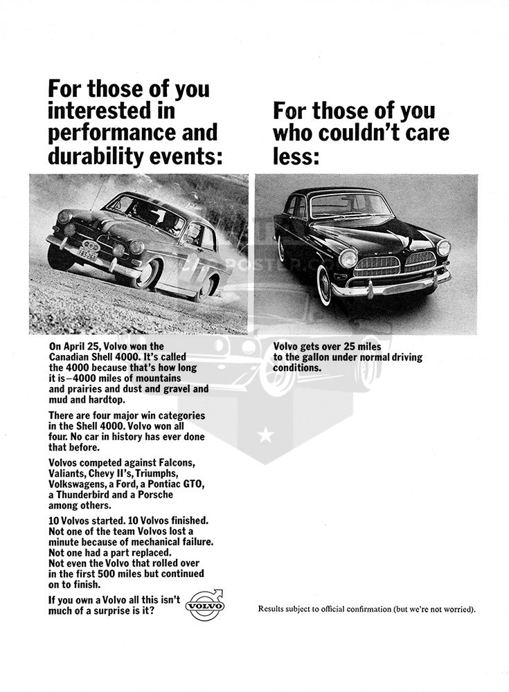 Volvo Car Poster, 1964 Volvo 122S, Vintage Ad Wall Art