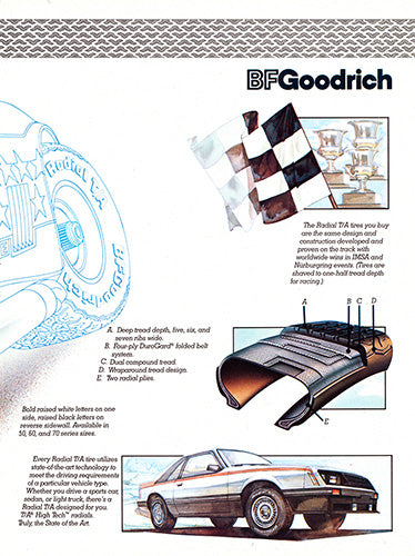 Ford Car Poster, 1981 BFGoodrich Tires Ford Mustang GT , Vintage Ad Wall Art