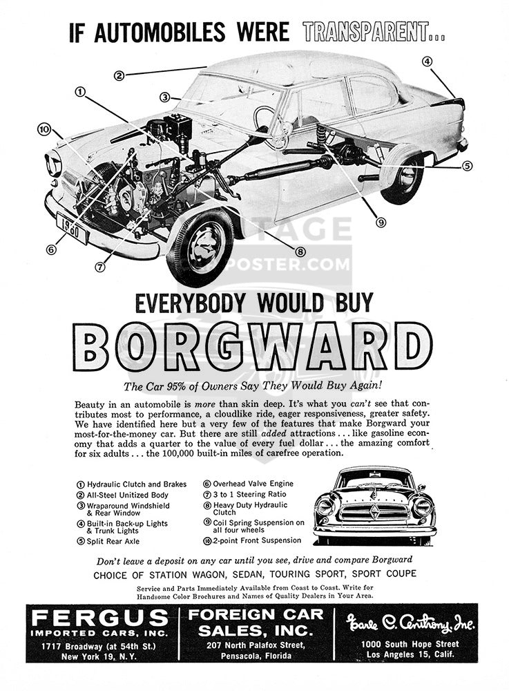 Borgward Car Poster, 1960 Borgward Sedan Wagon Sport Coupe, Vintage Ad Wall Art