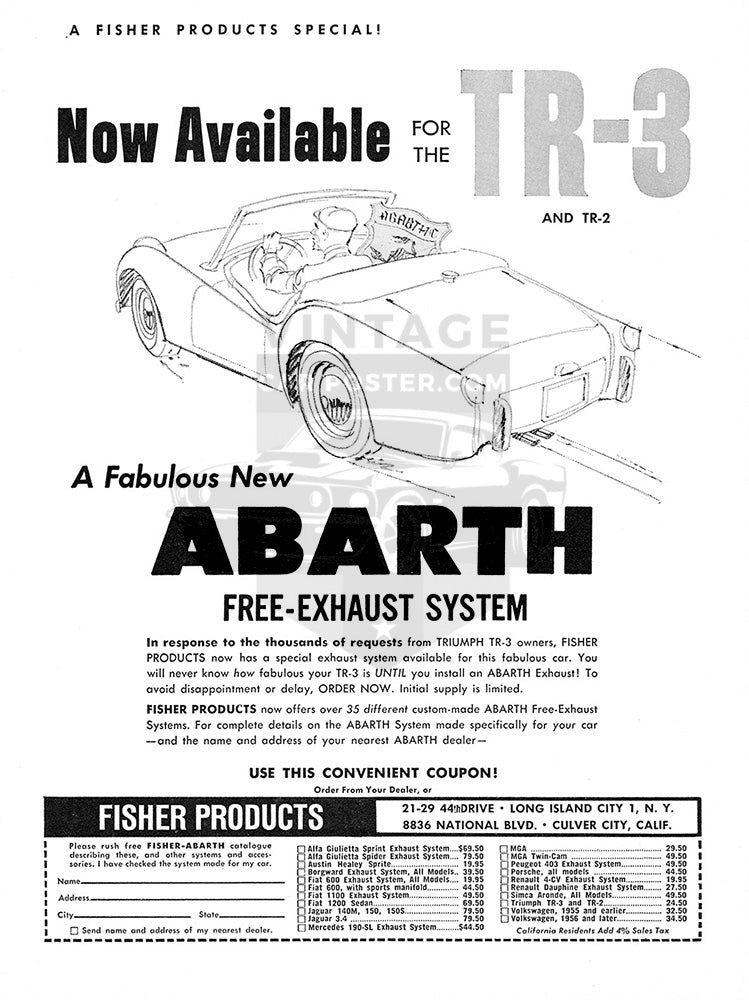 1960 Abarth Parts Free Exhaust System Triumph TR3     #100094