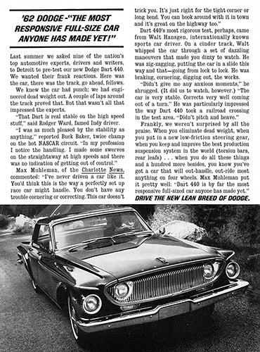Dodge Car Poster, 1962 Dodge Dart 440, Vintage Ad Wall Art