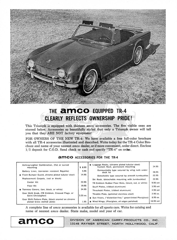 1964 Amco Accessories Triumph TR-4     #100413