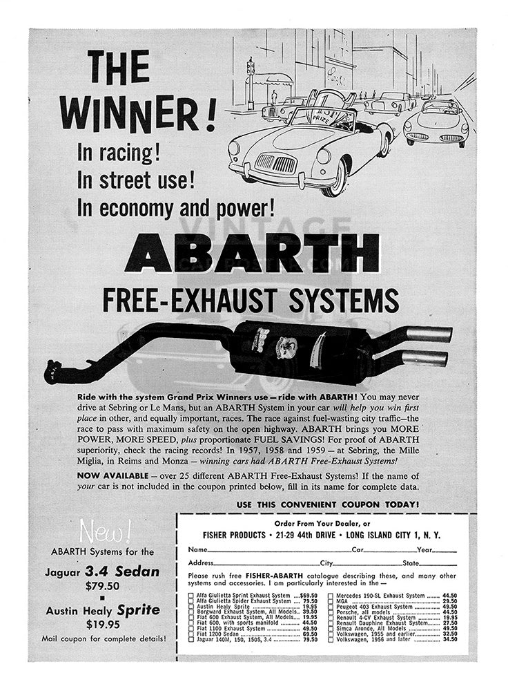MG Car Poster, 1958 Abarth Exhaust MG MGA, Vintage Ad Wall Art
