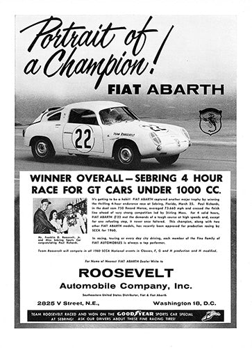Fiat Car Poster, 1960 Fiat Abarth 750 Dual Cam, Vintage Ad Wall Art