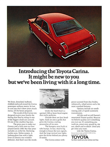 Toyota Car Poster, 1972 Toyota Carina, Vintage Ad Wall Art