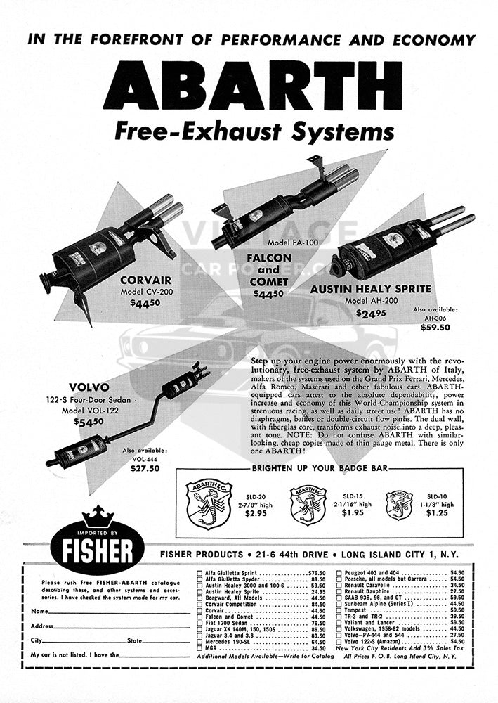 Abarth Car Poster, 1962 Abarth Parts Exhaust Systems, Vintage Ad Wall Art