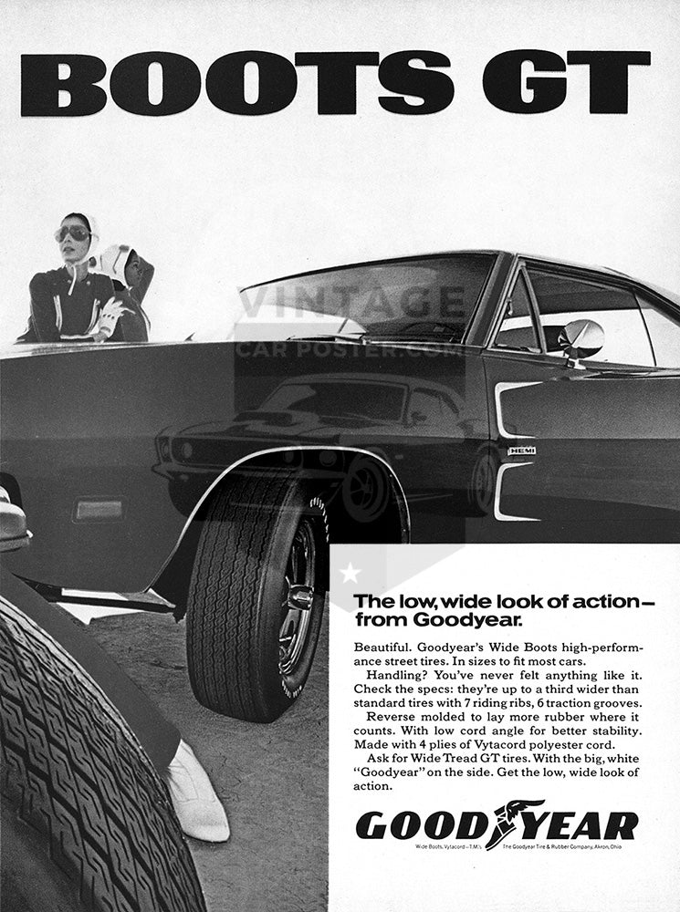 1969 Goodyear Tires Wide Boots GT Dodge Charger Hemi      #101273
