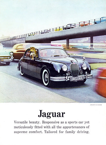 Jaguar Car Poster, 1958 Jaguar 3.4 Sedan, Vintage Ad Wall Art