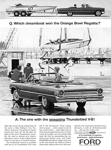Ford Car Poster, 1963 Ford Galaxie Thunderbird V8, Vintage Ad Wall Art
