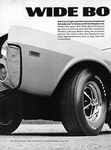 AMC Car Poster, 1968 Goodyear Tires Wide Boots GT AMC American Motors Javelin SST , Vintage Ad Wall Art