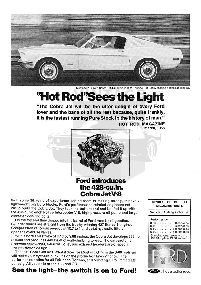 Ford Car Poster, 1968 Ford Mustang 2+2 Cobra Jet 428, Vintage Ad Wall Art