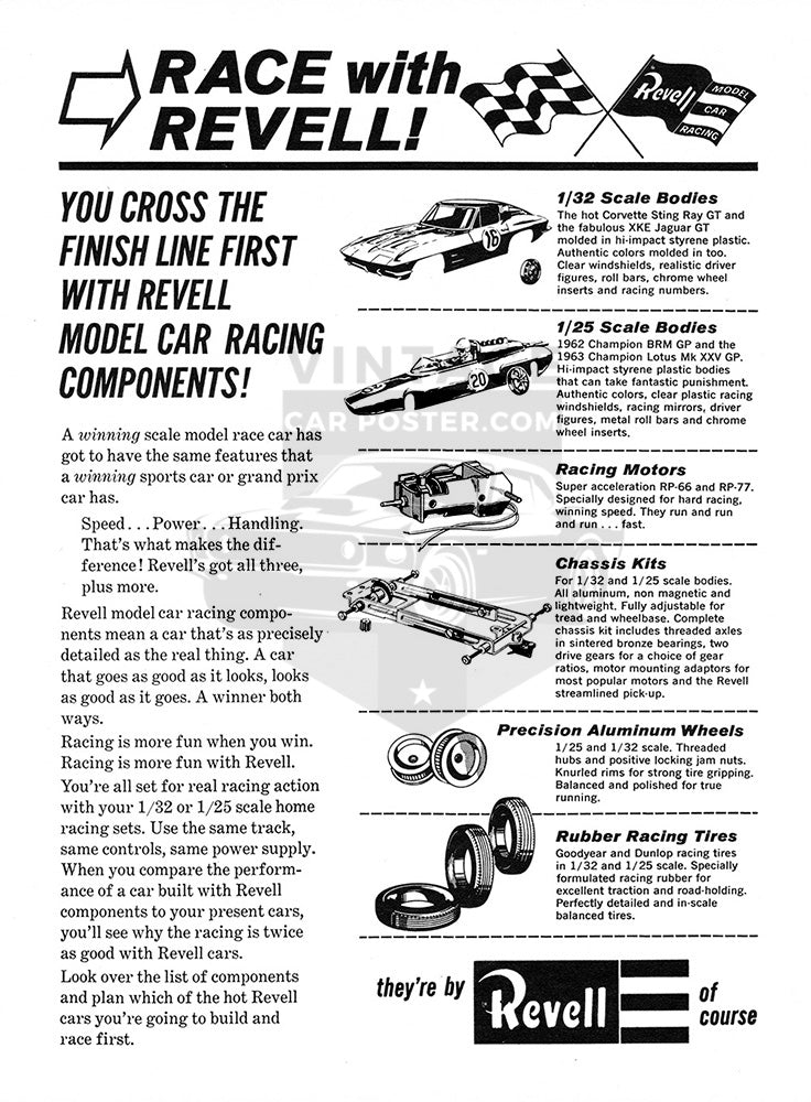 Chevrolet Car Poster, 1964 Revell Model Cars Lotus Corvette Jaguar , Vintage Ad Wall Art