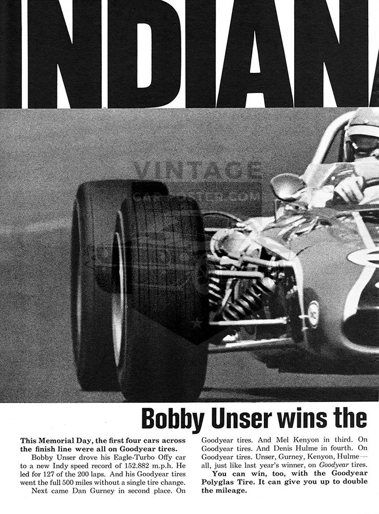 1968 Goodyear Indy 500 Bobby Unser      #101037