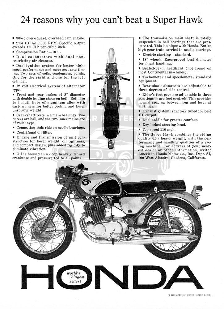 1963 Honda Motorcycle Super Hawk     #100341