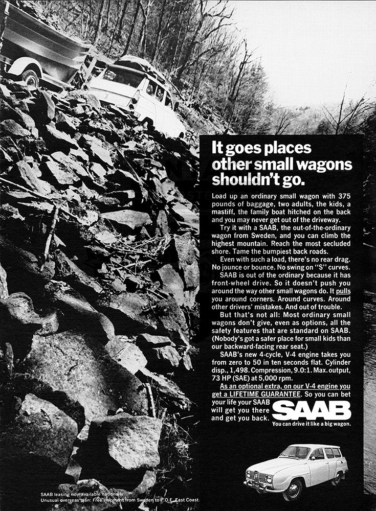 Saab Car Poster, 1968 Saab 95 Station Wagon, Vintage Ad Wall Art