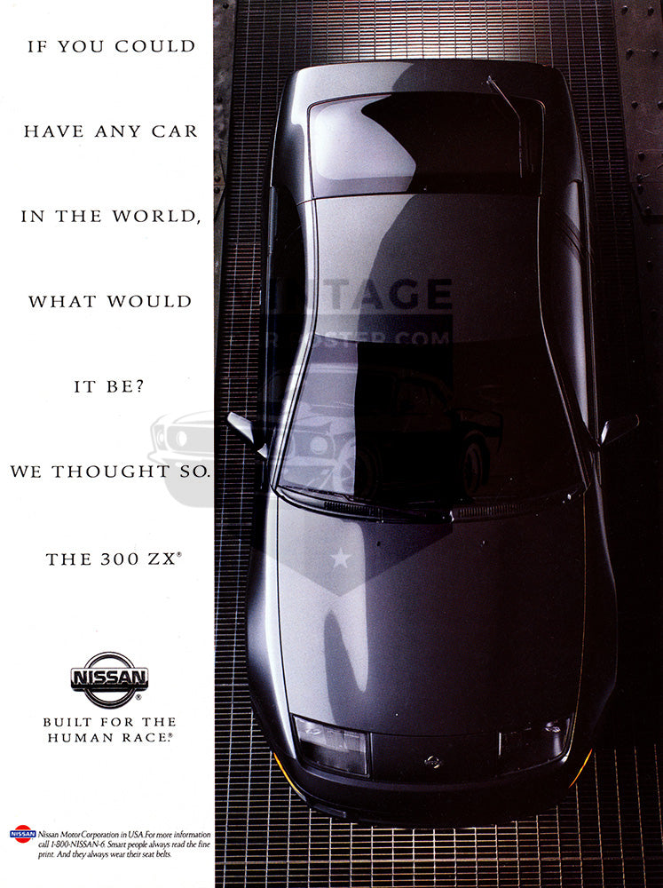Nissan Car Poster, 1993 Nissan 300 ZX, Vintage Ad Wall Art