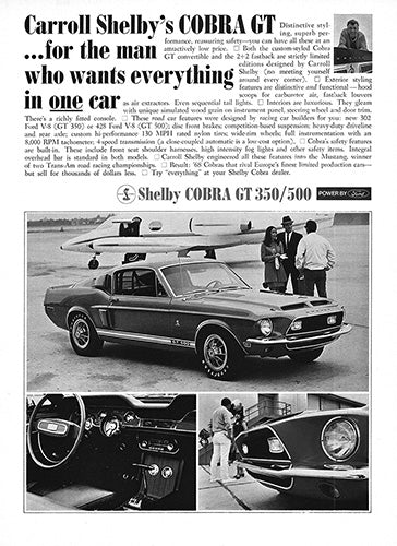 Ford Car Poster, 1968 Ford Mustang Shelby Cobra GT 350 500, Vintage Ad Wall Art