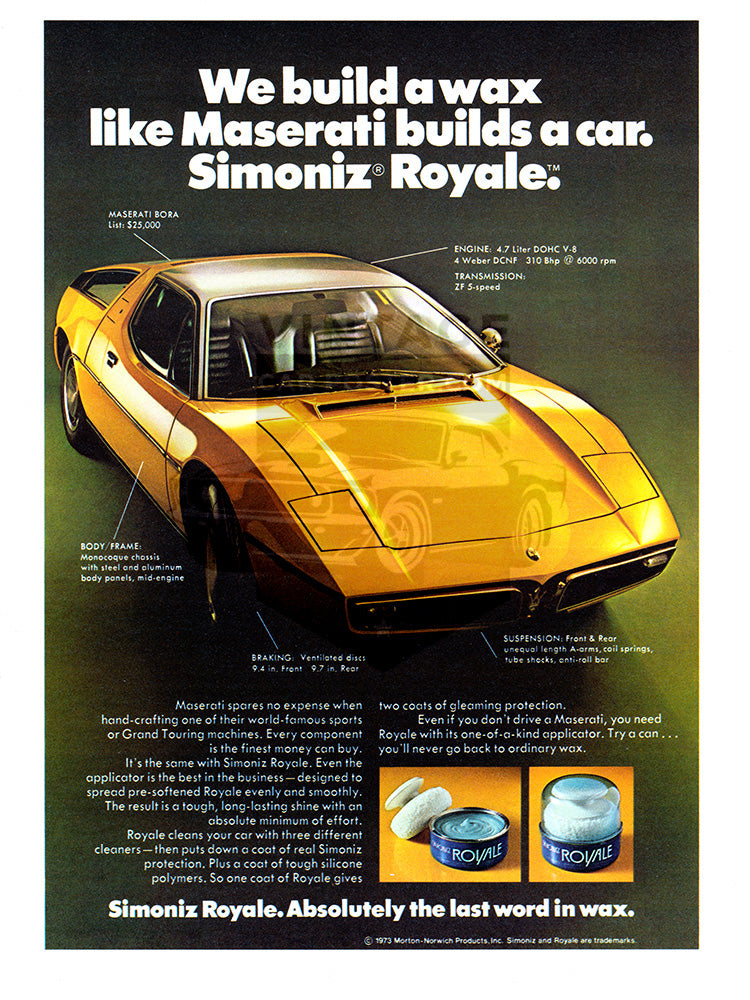 1974 Simoniz Royal Wax Maserati Bora     #102177