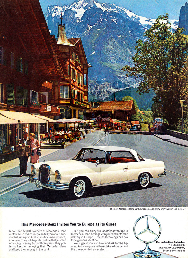 Mercedes Car Poster, 1963 Mercedes Benz 220SE Coupe, Vintage Ad Wall Art