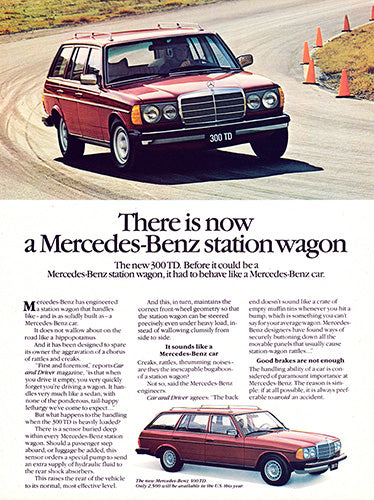 Mercedes Car Poster, 1979 Mercedes Benz 300TD Station Wagon , Vintage Ad Wall Art