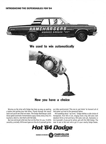 Dodge Car Poster, 1964 Dodge Ramchargers, Vintage Ad Wall Art