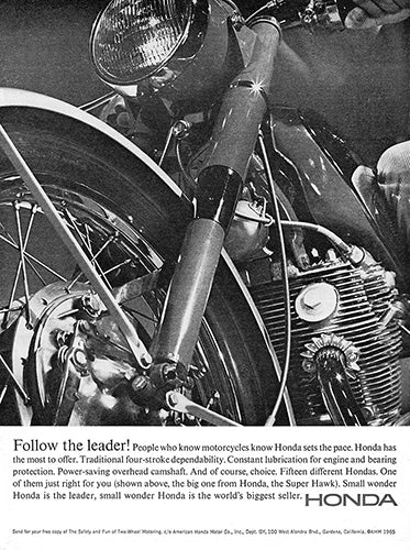 Honda Car Poster, 1965 Honda Motorcycle Super Hawk, Vintage Ad Wall Art