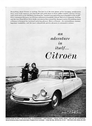 Citroen Car Poster, 1960 Citroen ID19 DS19, Vintage Ad Wall Art