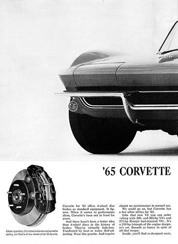 Chevrolet Car Poster, 1964 Chevrolet Corvette , Vintage Ad Wall Art