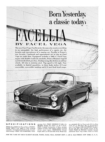 Facel Car Poster, 1960 Facel Vega Facellia, Vintage Ad Wall Art