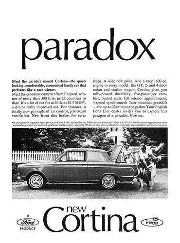 Ford Car Poster, 1965 Ford Cortina, Vintage Ad Wall Art