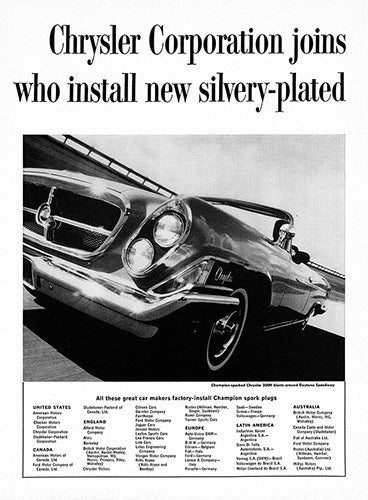 Chrysler Car Poster, 1962 Champion Spark Plugs Chrysler 300H, Vintage Ad Wall Art