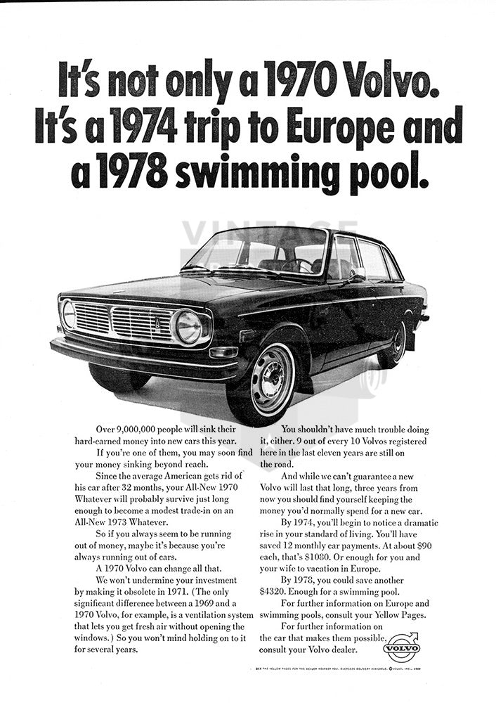 Volvo Car Poster, 1969 Volvo 145, Vintage Ad Wall Art