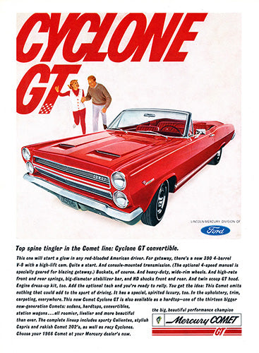 Ford Car Poster, 1965 Ford Mercury Comet Cyclone GT Convertible, Vintage Ad Wall Art