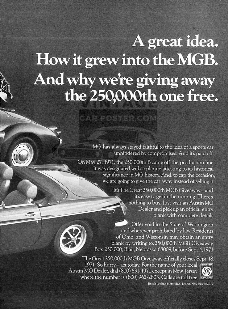 MG Car Poster, 1971 MG MG-TC MG-TD MGA MGB , Vintage Ad Wall Art