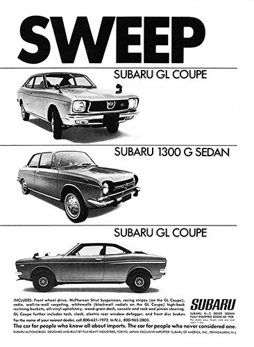 Subaru Car Poster, 1972 Subaru GL Coupe 1300 G Sedan , Vintage Ad Wall Art
