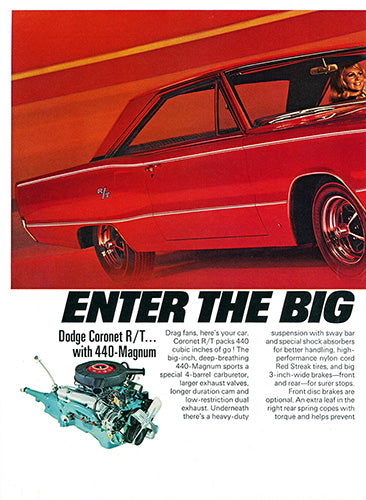 Dodge Car Poster, 1967 Dodge Coronet RT 440 , Vintage Ad Wall Art