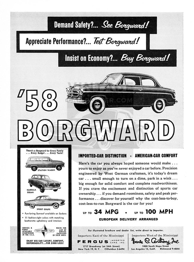 1958 Borgward Isabella Sedan Sport Coupe     #100024