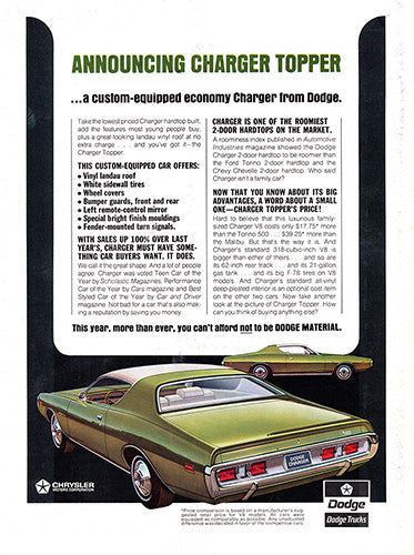 1971 Dodge Charger Topper     #101455